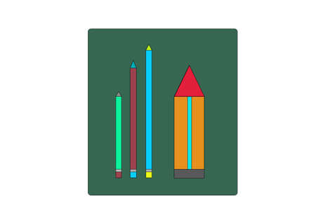 depicts: illustration which depicts three small pencil and one large Illustration