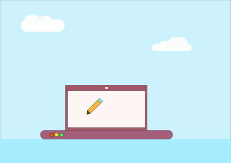 heavenly light: illustration which depicts clouds and a pencil on the PC screen Illustration