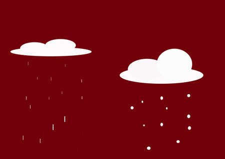 depicts: illustration which depicts two clouds, rain and snow