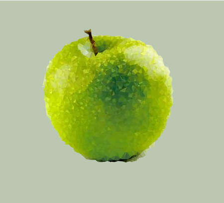 illustration depicting an apple in projection