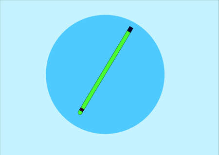 writing instrument: illustration depicting a green pencil on a blue background