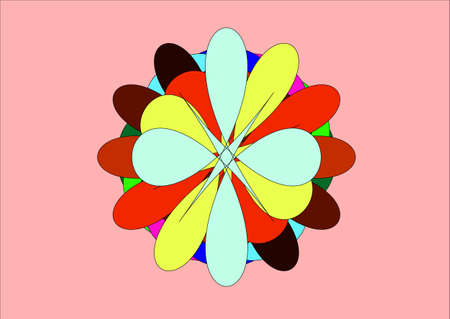 numerous: illustration which depicts numerous colored petals, gathered together