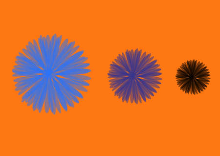 wall decal: illustration on which three different flowers on an orange background are represented