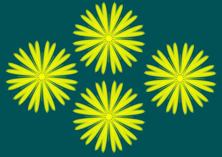 Simple illustration of yellow flower with contour. Separate bloom. Illustration