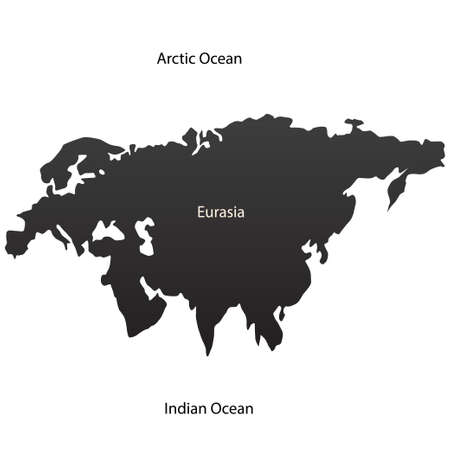 eurasian: Eurasian continent and two oceans. Vector illustration
