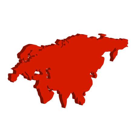 bulk: Eurasia Continent. Bulk illustration of red color on a white background Illustration