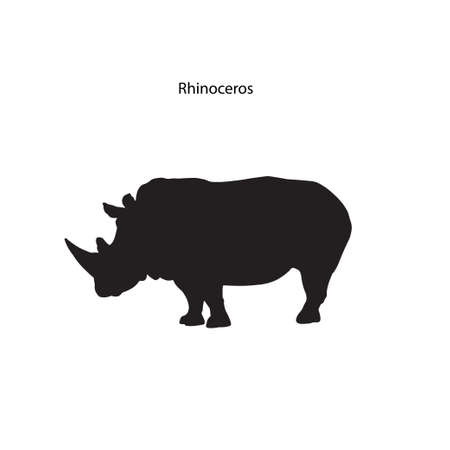 siloette: Silhouette of a large African rhinoceros. Vector illustration