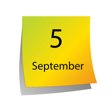fifth: The fifth of September in Calendar icon on white background Illustration