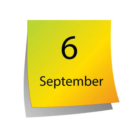 sixth: The sixth of September in Calendar icon on white background Illustration