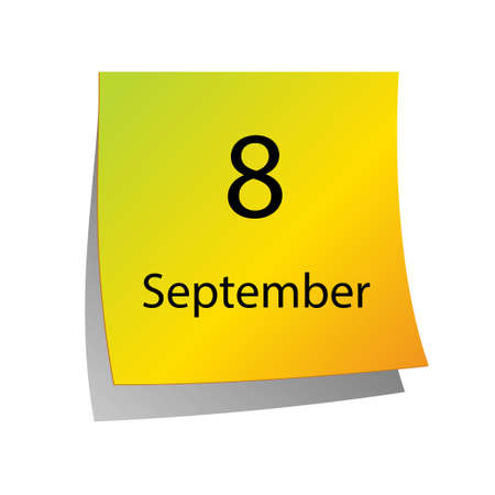 eighth: The eighth of September in Calendar icon on white background