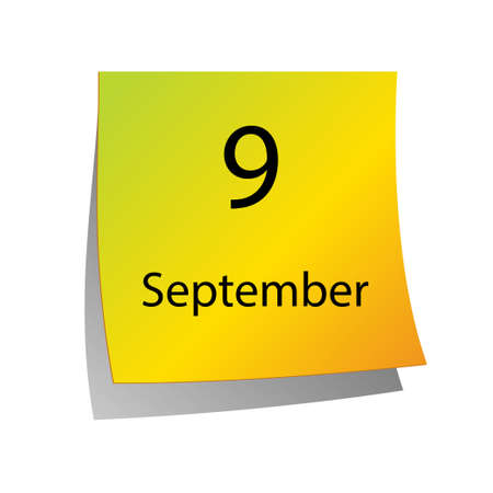 ninth: The ninth of September in Calendar icon on white background