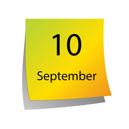 tenth: The tenth of September in Calendar icon on white background Illustration