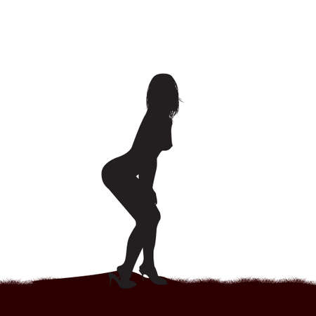 naked woman sitting: Silhouette of the naked girl on a white background. Vector illustration Illustration