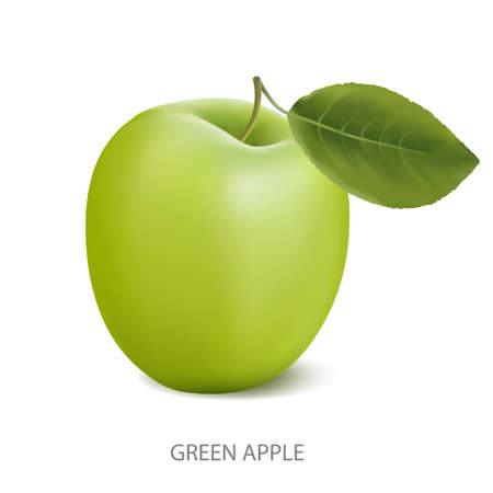 fruitage: Green apple with leaf isolated on a white background