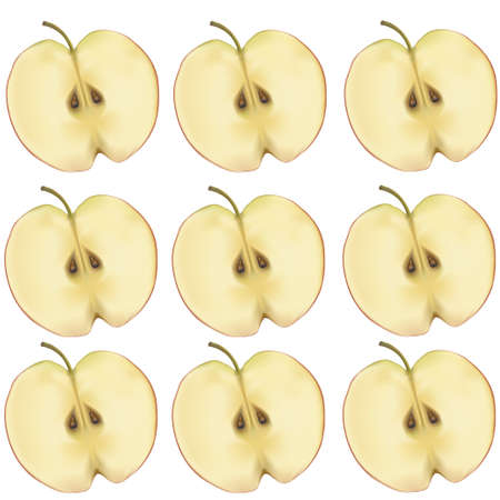 Apples in a section on a white background. Vector illustration