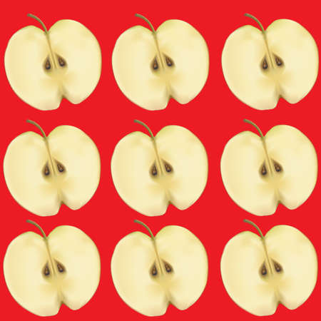 Apples in a section on a red background. Vector illustration