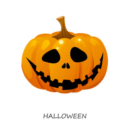 Halloween pumpkin on a white background. Vector illustration Illustration