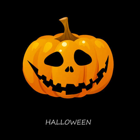 cucurbit: Halloween pumpkin on a black background. Vector illustration