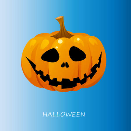 cucurbit: Halloween pumpkin on a blue background. Vector illustration Illustration