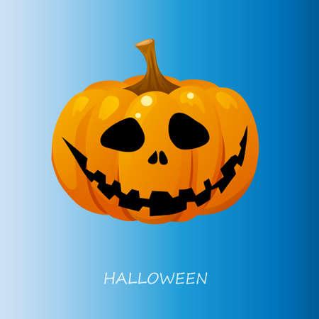 Halloween pumpkin on a blue background. Vector illustration Illustration