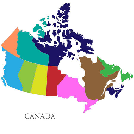Color contour map of Canada. Vector illustration 矢量图像
