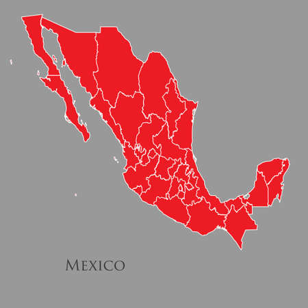 Contour map of Mexico on a gray background. Vector illustration