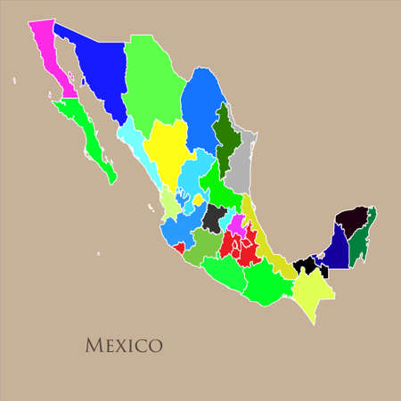 mercator: Contour map of Mexico on a cream background. Vector illustration Illustration