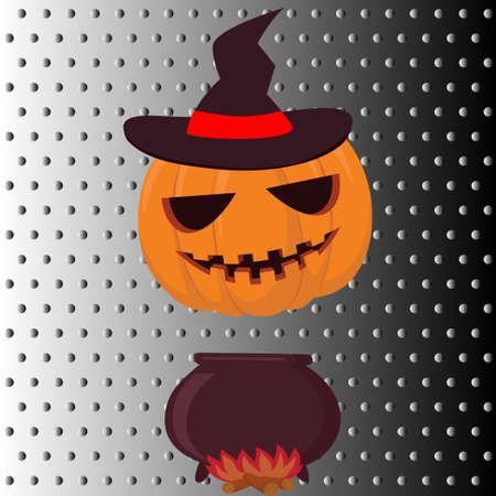 Halloween pumpkin with hat on fire. Vector illustration