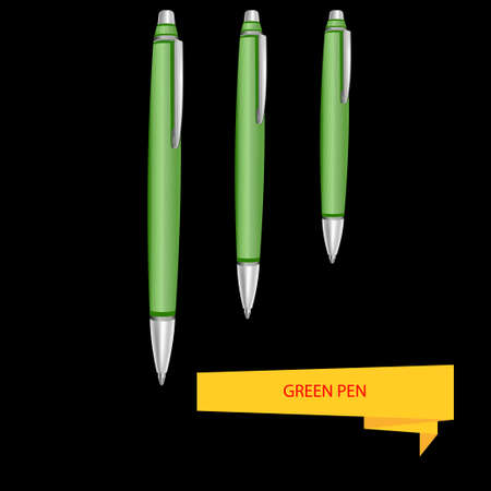 rollerball: Three green pen on a black background. Vector illustration