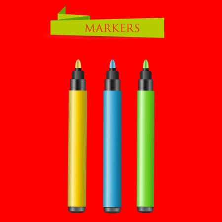 Three felt-tip pens on a red background. Vector illustration