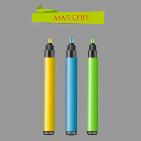 Three felt-tip pens on a gray background. Vector illustration Illustration