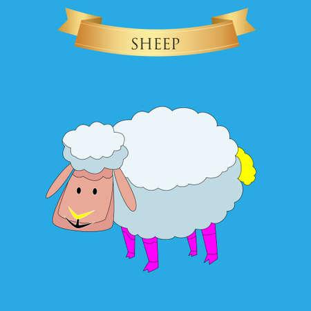 Big sheep on a blue background. Vector illustration Illustration