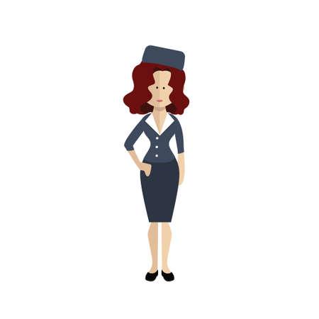 The stewardess on a white background. Vector illustration Illustration