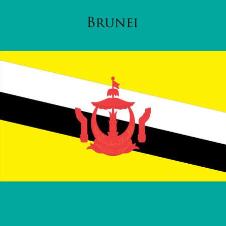 weathered: Brunei flag on a blue background. Vector illustration