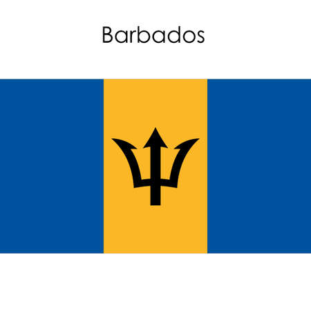 antilles: Barbados flag on a white background. Vector illustration