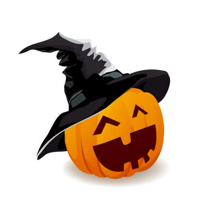 Halloween pumpkin emotions in a hat on a white background. Vector illustration