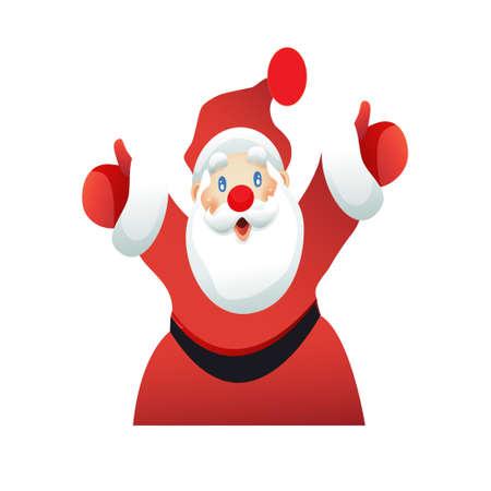 Santa Claus welcomes emotionally white background. Vector illustration Illustration