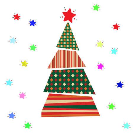 Weihnachtsbaum und Stern auf einem weißen Hintergrund. Vektor-Illustration Vektorgrafik