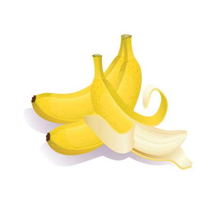 Gelbe Bananen auf einem weißen Hintergrund. Vektor-Illustration