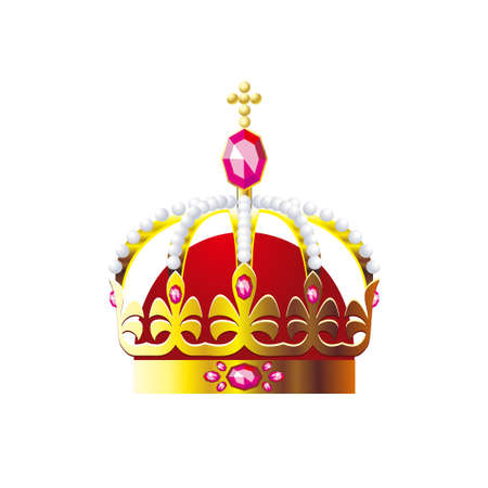 Crown with a gold cross on a white background. Vector illustration