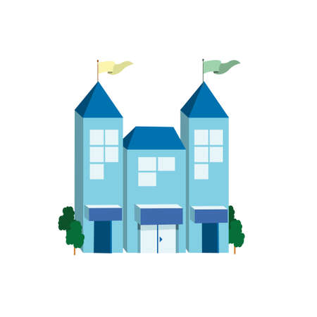 post office building: Icon big blue building on a white background. Vector illustration Illustration