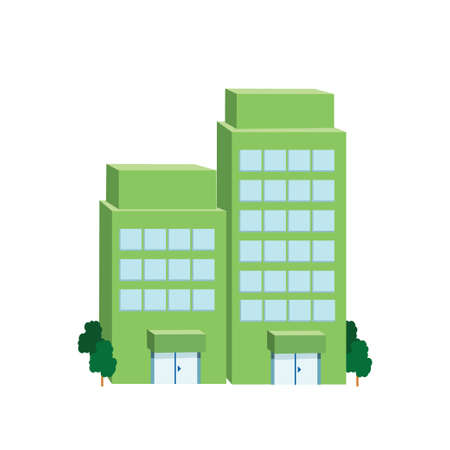 parking facilities: Icon big green building on a white background. Vector illustration
