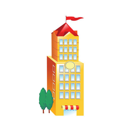 post office building: Icon big yellow building on a white background. Vector illustration
