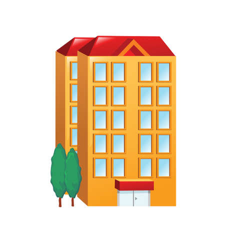 post office building: Icon big orange building on a white background. Vector illustration