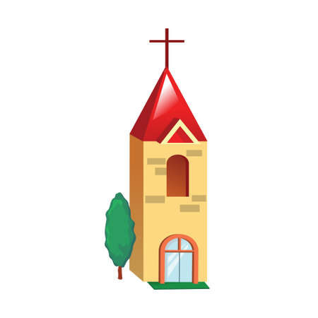 post office building: Icon yellow church building on a white background. Vector illustration