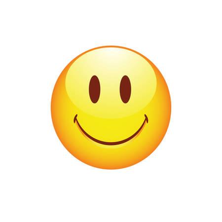 Sourire smiley avec les yeux mignons et les joues roses. Vector illustration