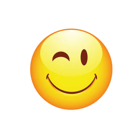 Smiling smiley winking eye and ruddy cheeks. Vector illustration