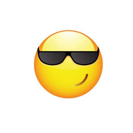 Smiling Smiley with sunglasses on his eyes and rosy cheeks. Vector illustration Illustration