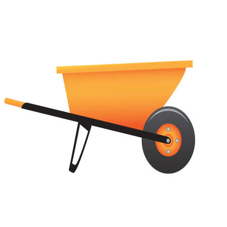 hauling: Large construction wheelbarrow on a white background. Vector illustration Illustration
