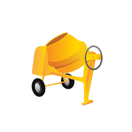 steel drum: Large construction concrete mixer on a white background. Vector illustration